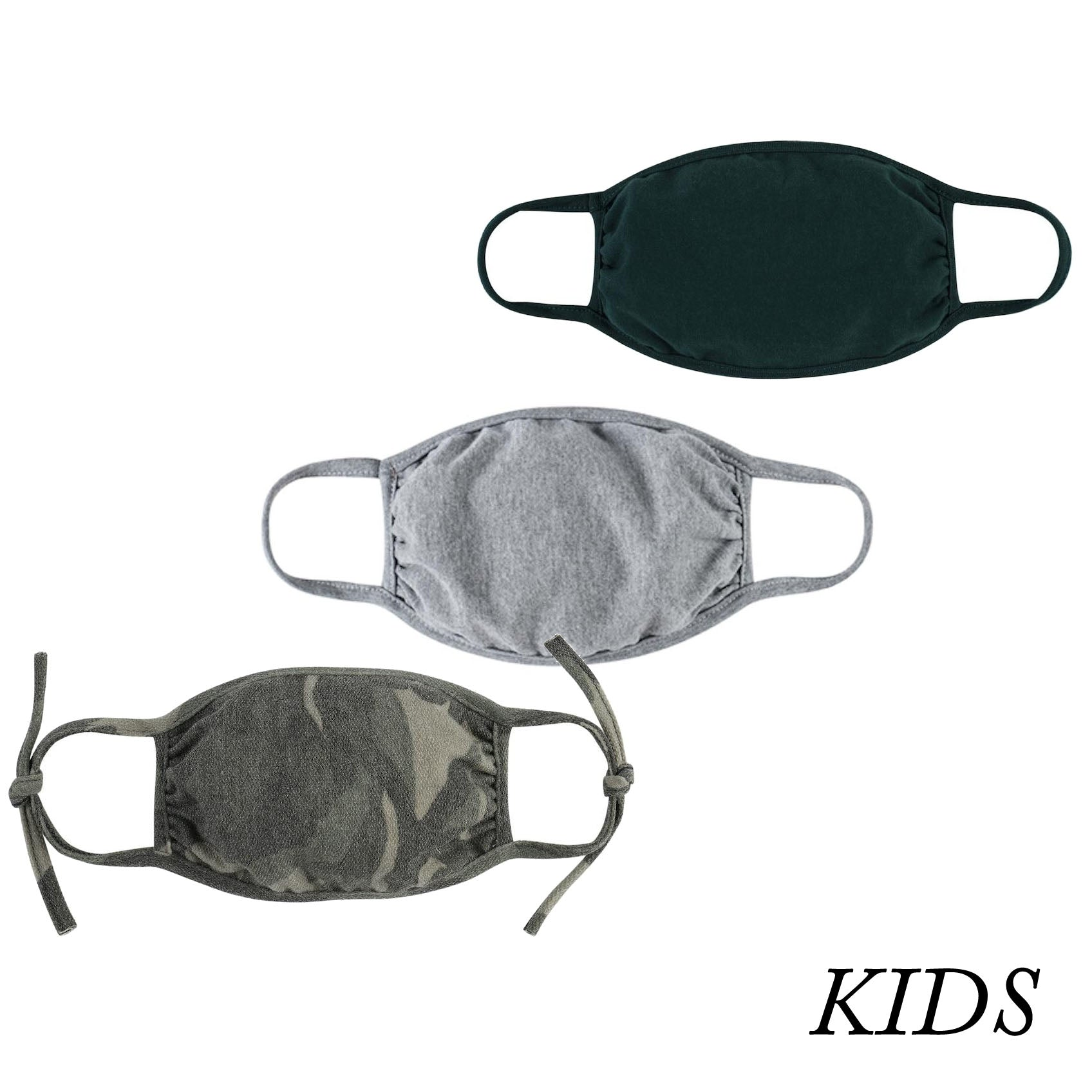 Set of 3 Kids Face Masks, Camo Print with Gray and Hunter Green