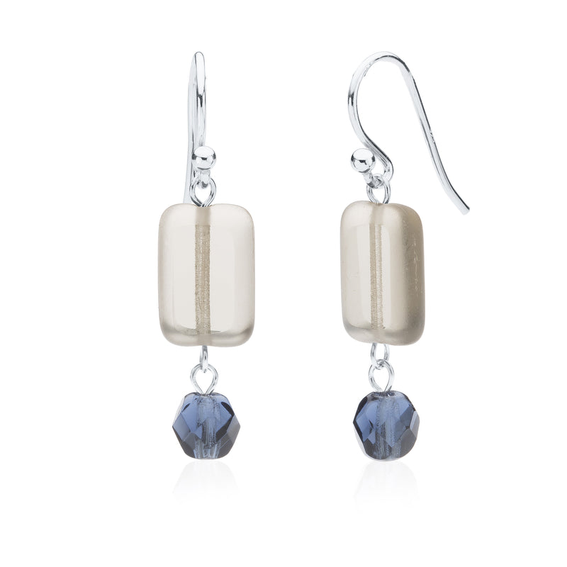 Trilogy Crystal Dangle Earrings, Grey and Dusty Blue