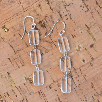 Triple Tile Earrings, Trilogy, Crystal Clear