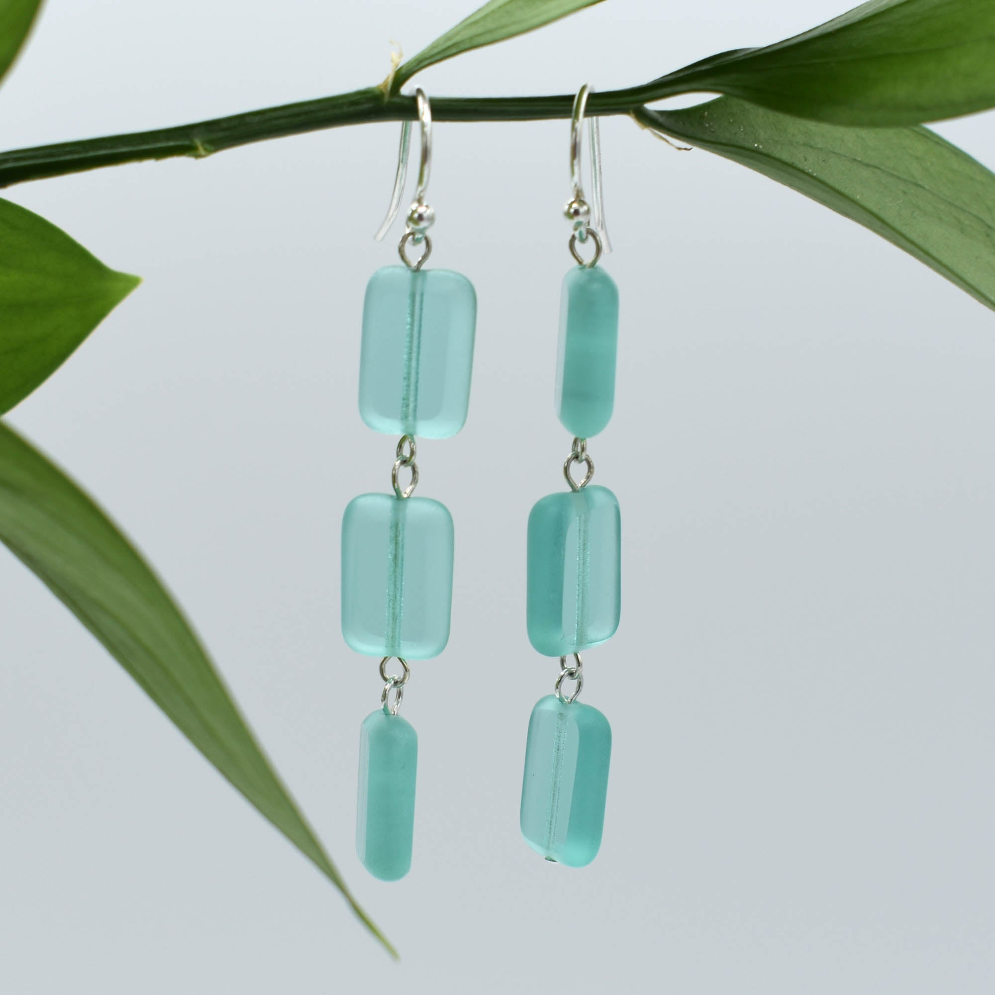 Trilogy 3-Tile Earrings in Seaglass Teal