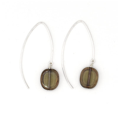 Glass Oval Drop Wishbone Earrings, Trilogy