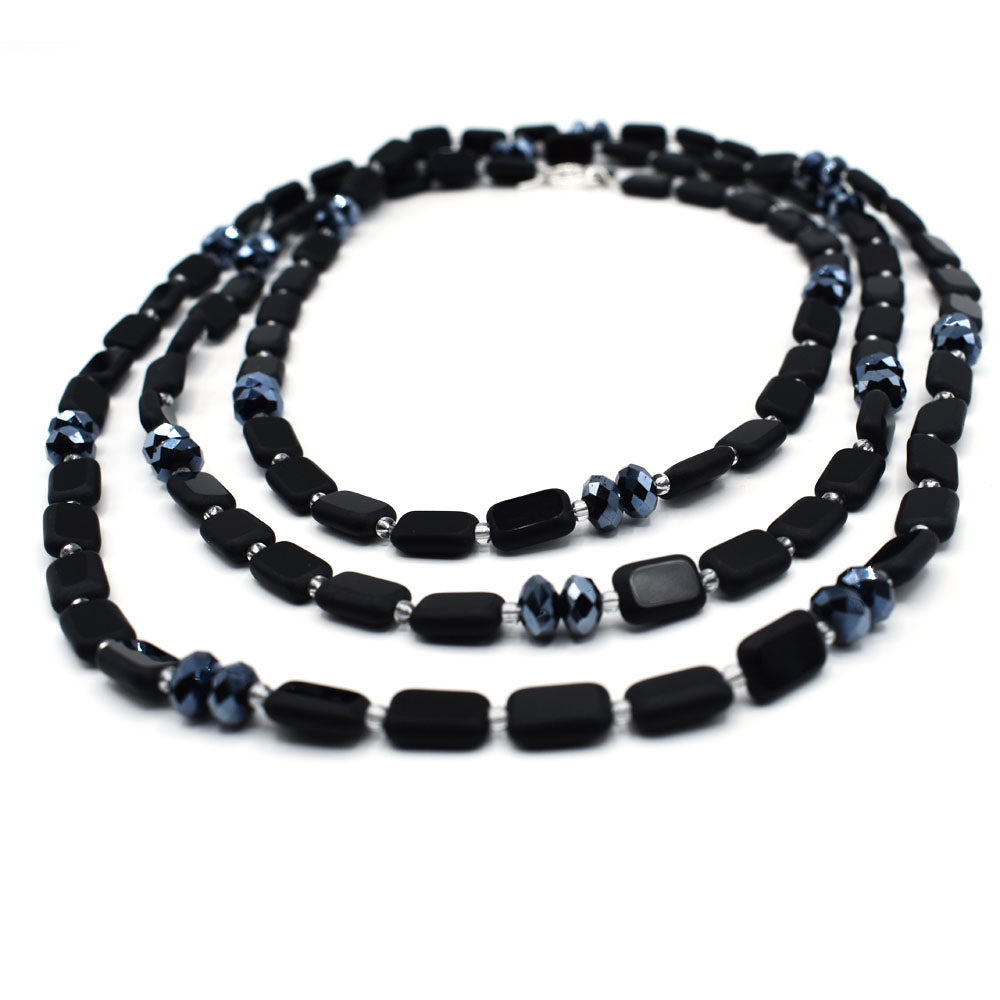 Matte Black Necklace with Hematite Glass Crystals, 60 Inches Long, Sample Sale