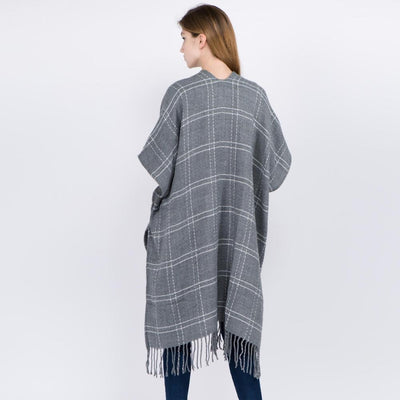Windowpane Kimono, Medium Weight with Fringe