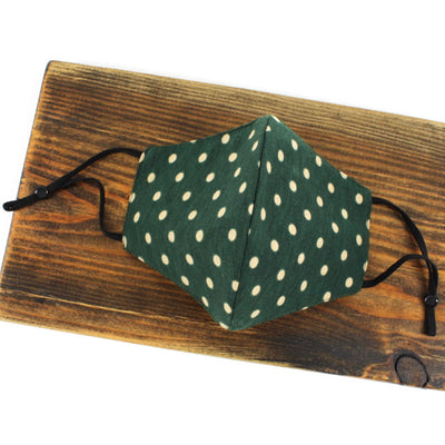 Adjustable Cotton Face Mask, Adjustable Fit Polka Dots in Navy, Green or Red, USA-Made