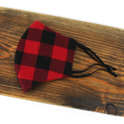 Adjustable Cotton Face Mask, Adjustable Red and Black Buffalo Plaid