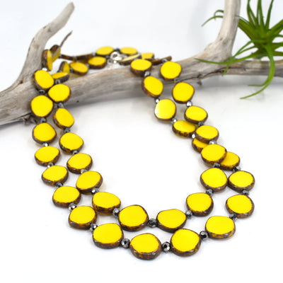 Long Circle Necklace, 38 Inches Long, Yellow