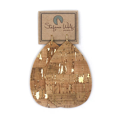 Cork Teardrop Earrings, Gold