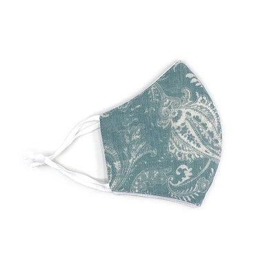 Adjustable Cotton Face Mask, Adjustable Fit Green Paisley, USA-Made