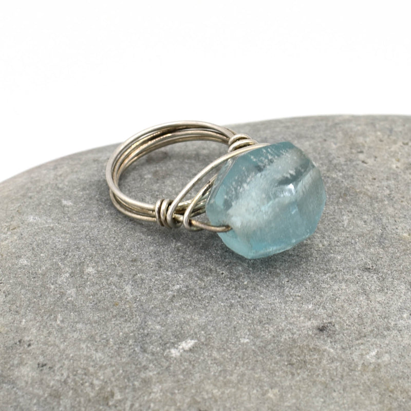 Sterling Ring, Aqua Recycled Glass, Size 5.75