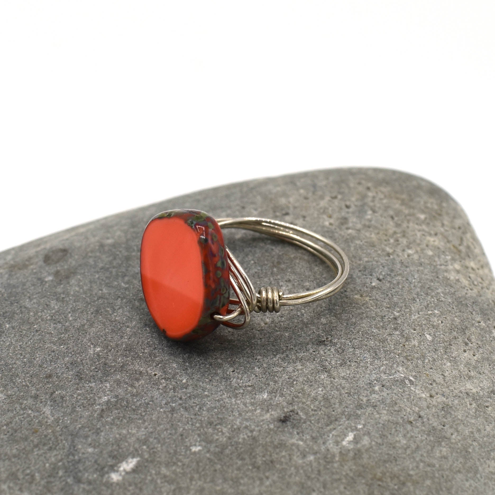 Sterling Ring, Coral Orange Circle, Size 6.5