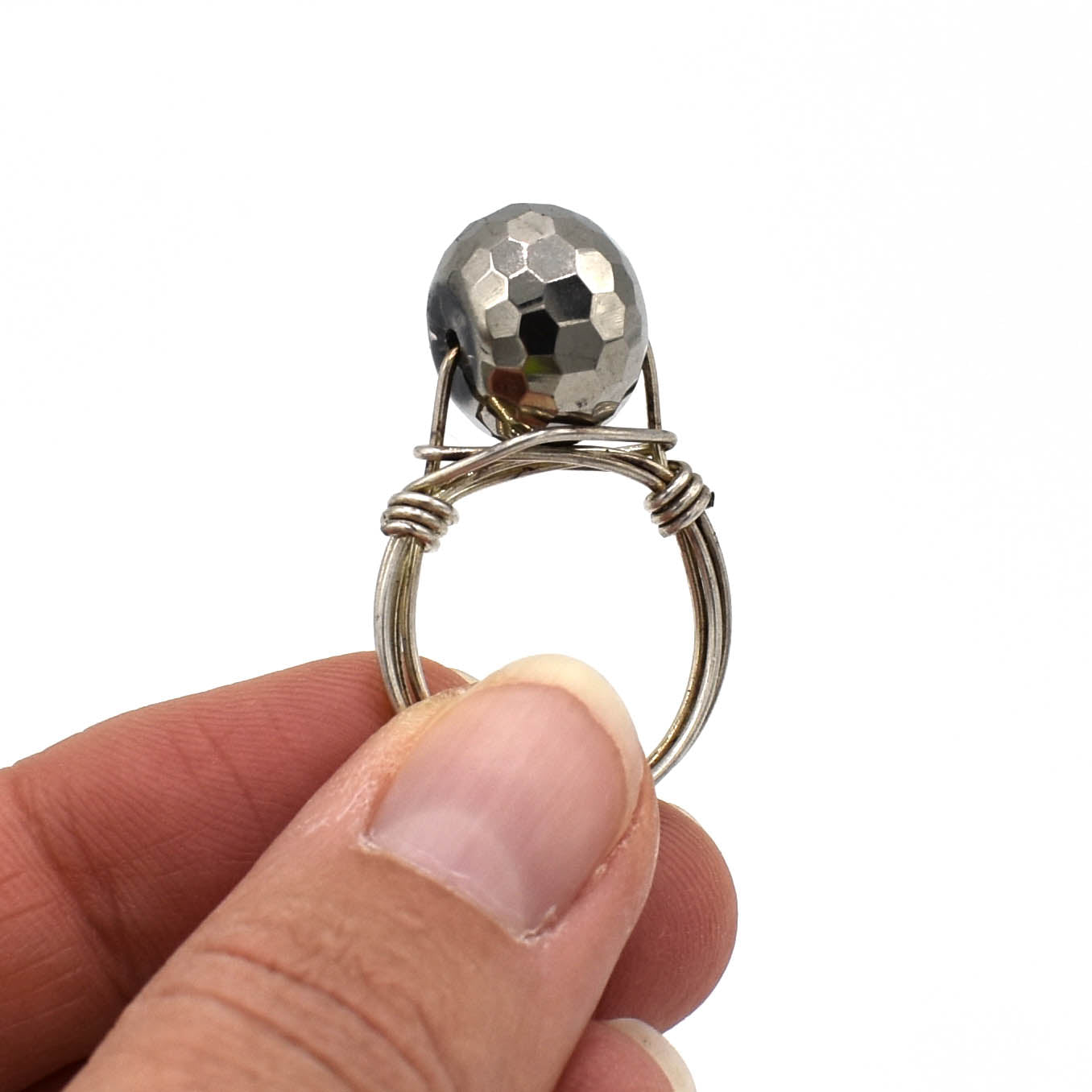 Sterling Ring, Disco Ball Cocktail Ring, Size 7.5