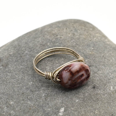 Sterling Ring, White and Pink Agate, Size 5.5