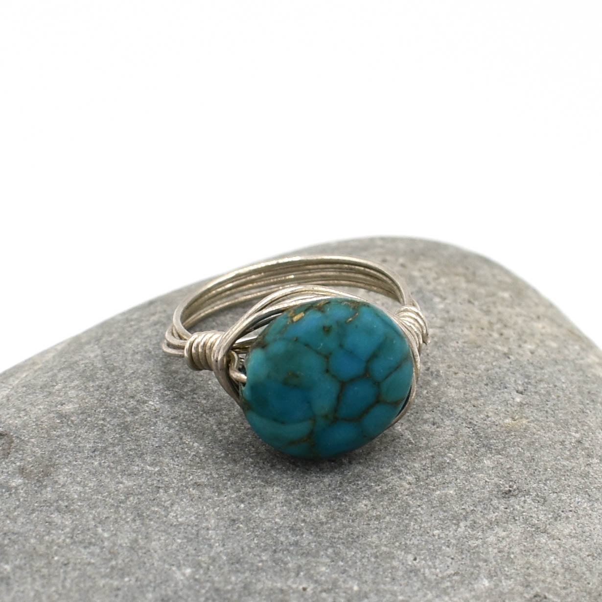 Sterling Ring, Turquoise Coin, Size 6