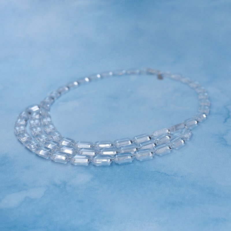 3-Strand Necklace, Trilogy, Crystal Clear Ice Cube