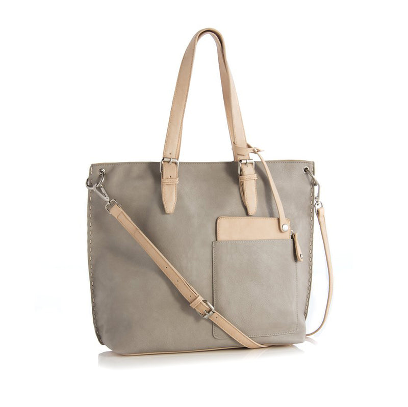 Two-Tone Tote with Handles and Adjustable Crossbody Strap, Neutral