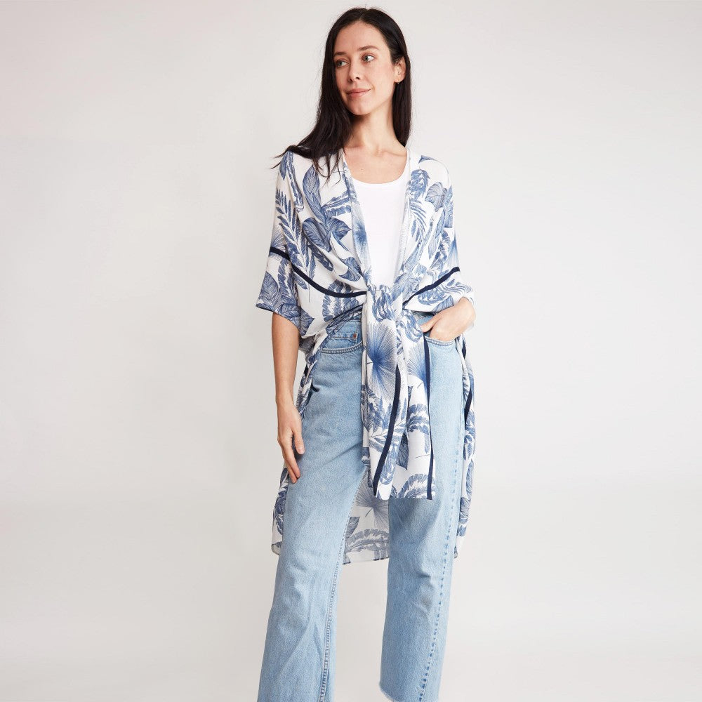 Tropical Leaf Print Beach Kimono, Blue with White