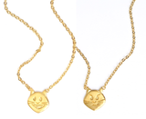 Smiley Kitty x Smirky Kitty Double Sided Necklace