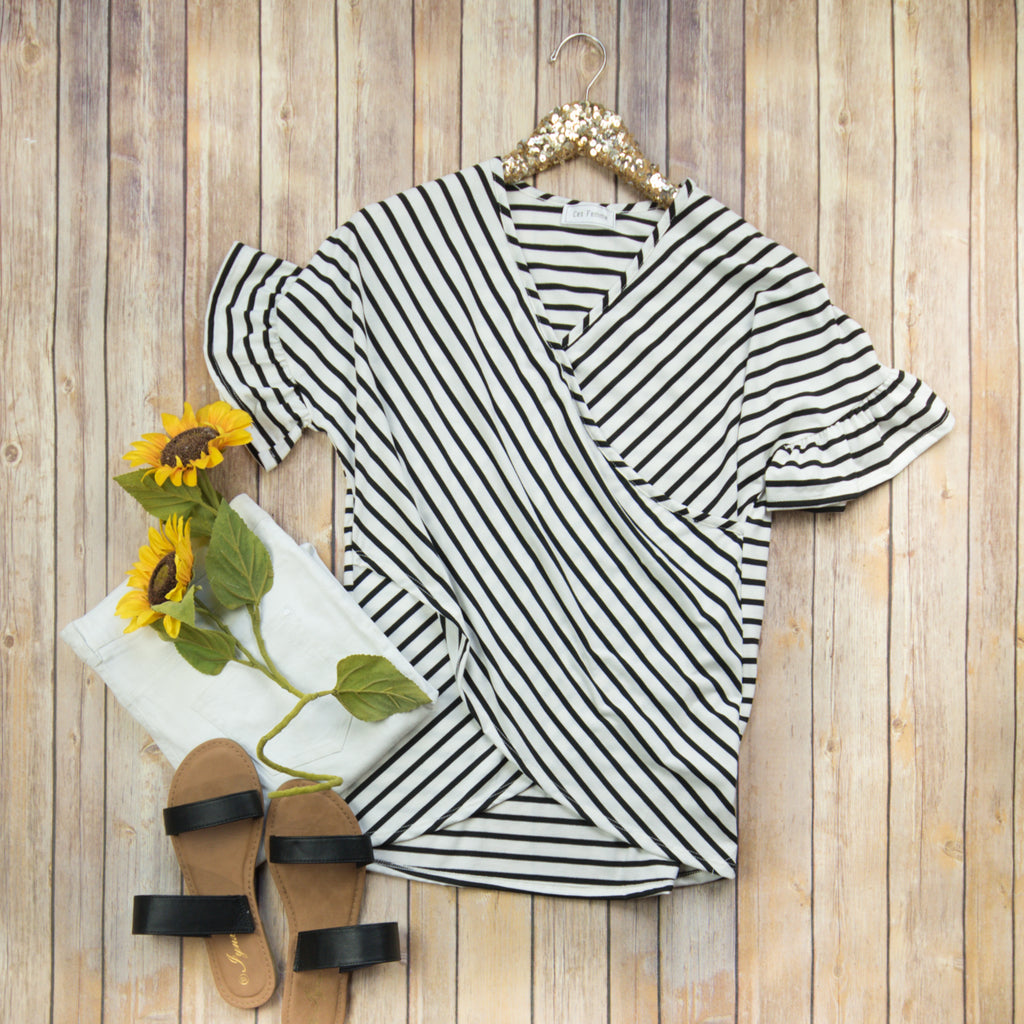Cross Over Stripe Top