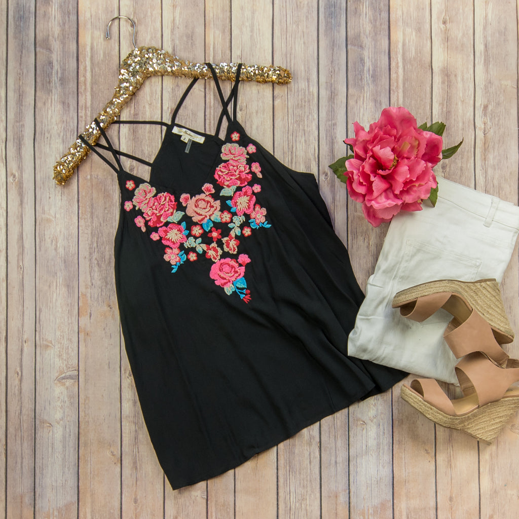 Pink + Black Embroidered Tank
