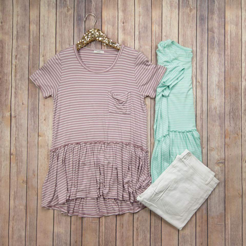 Fav Peplum Striped Top P21823