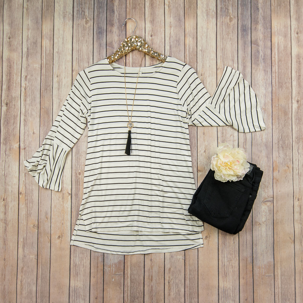 Ivory Striped Basic Top T7564
