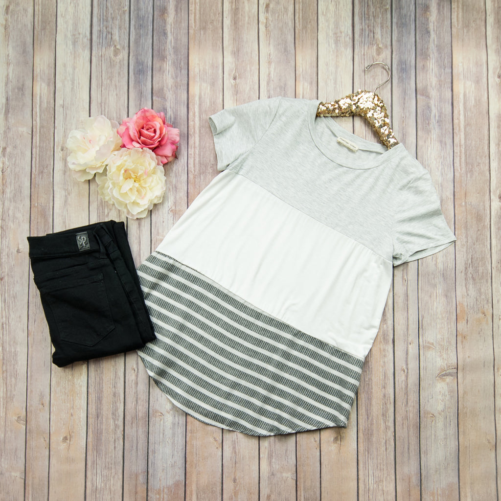 Gray Colorblock Tee T17289