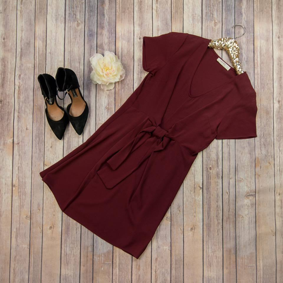 Front Tie Wine Dress R65831 CHECK