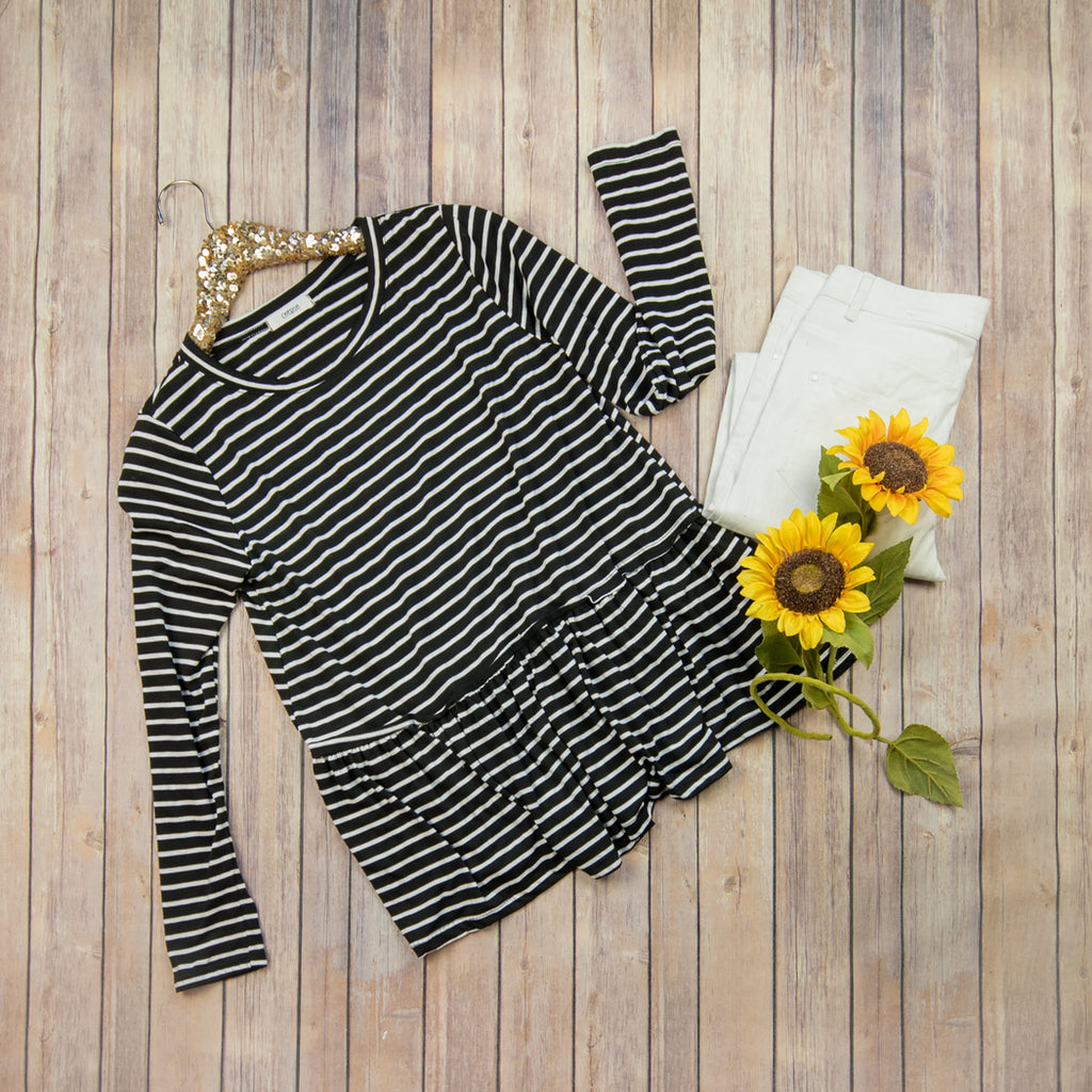Black Striped Sleeve Top T18918 FLC * ALL SALES FINAL*