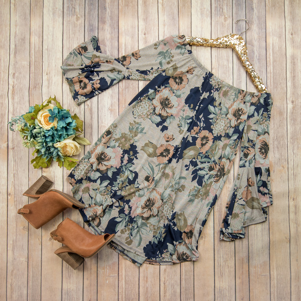 Fall Navy Floral Dress D9719 *ALL SALES FINAL