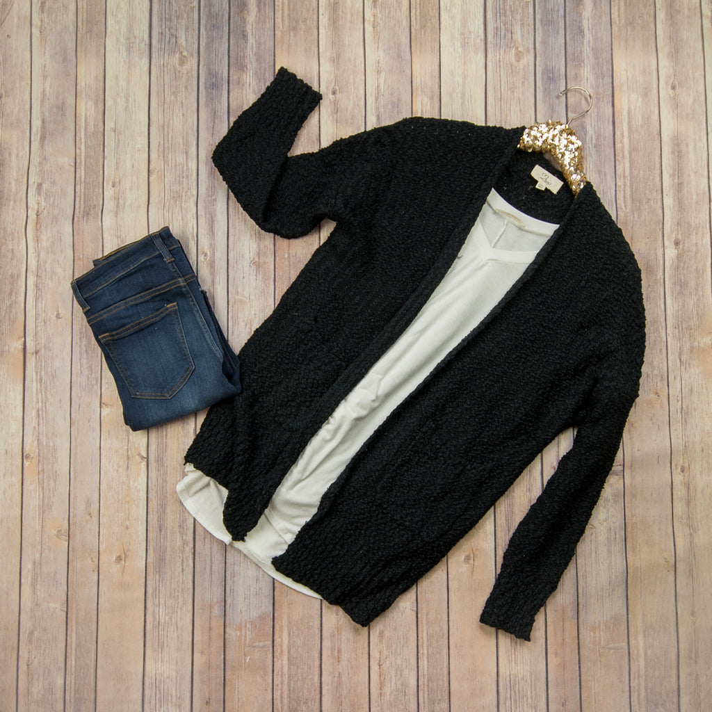 Chunky Cozy Black Cardigan LV9028 *ALL SALES FINAL