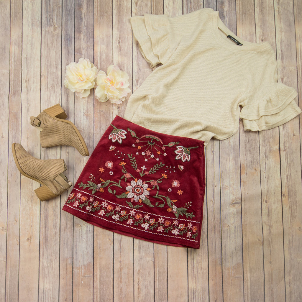 Burgundy Floral Skirt BA7494 *ALL SALES FINAL