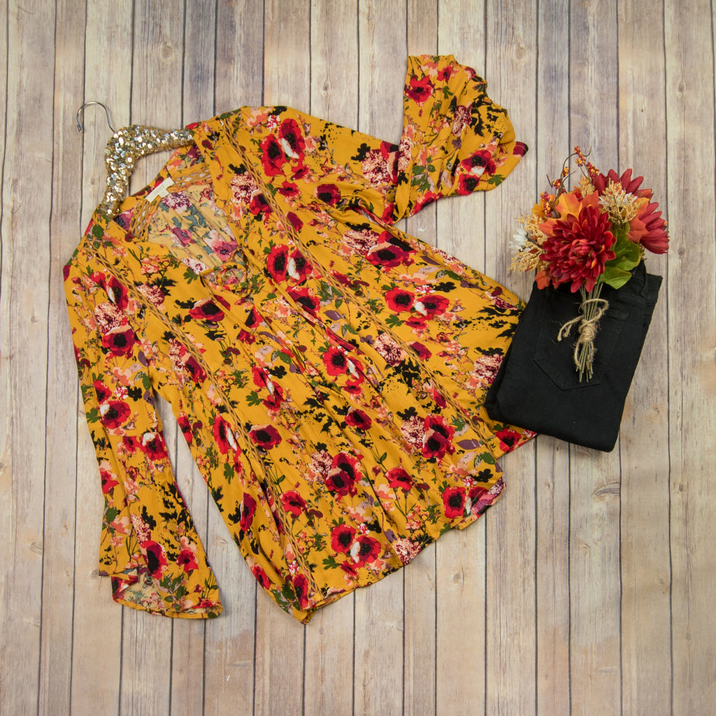 Bold Mustard Floral Blouse IT20448