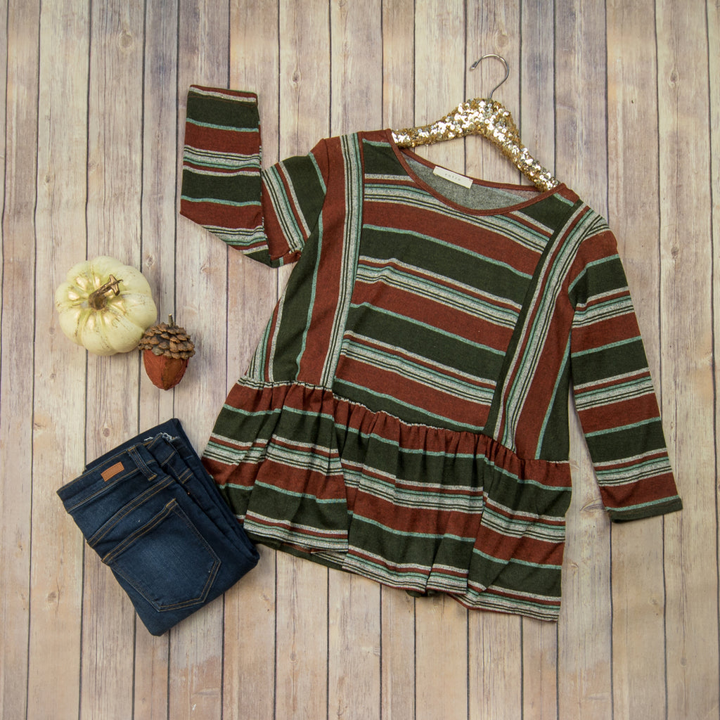 Fall Stripe Peplum 3257