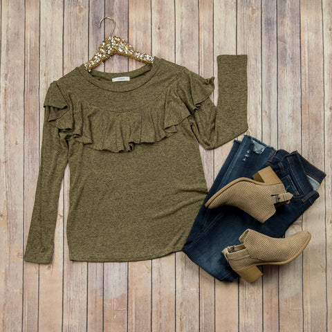 *SALE* Olive Heathered Ruffle Top // ALL SALES FINAL