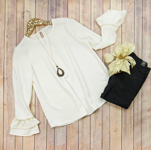 Pearl Accent White Blouse