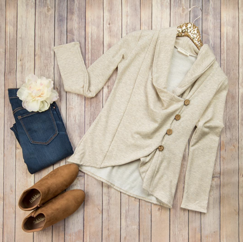 Oatmeal & Structured Button Jacket