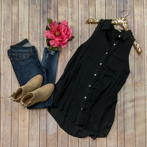 Black Button Tank