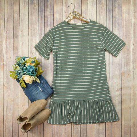 Green Stripe + Ruffle Tunic***