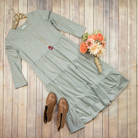 Gray Ruffle Tiered Dress***