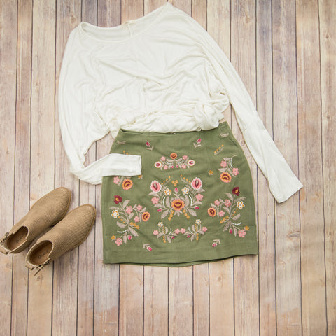 Olive Embroidered Skirt