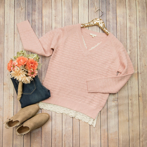 Pink + Peep Lace Sweater
