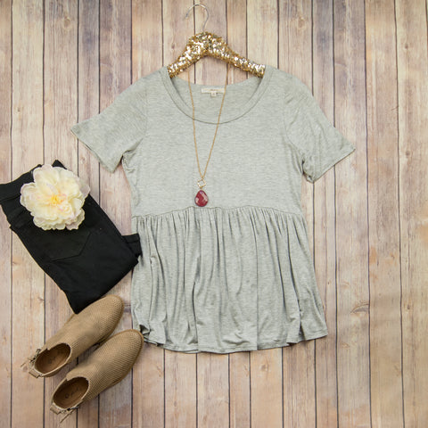 Basic Flowy Grey Top***