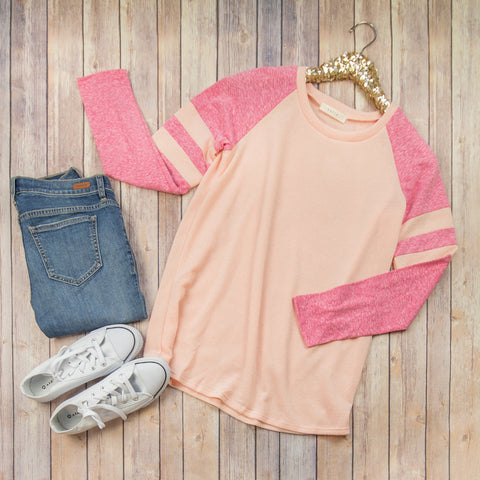 Shaded Pink Baseball Tee***