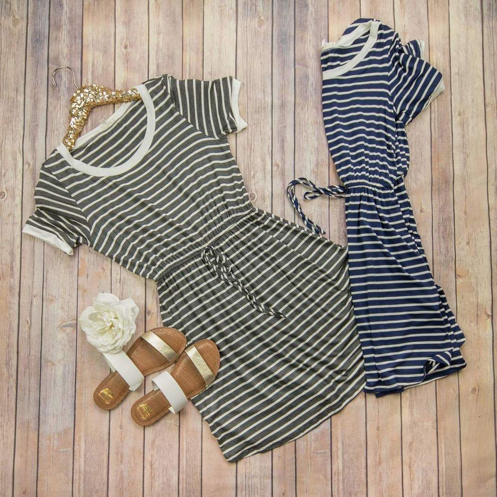Drawstring Stripe Dress *ALL SALES FINAL*