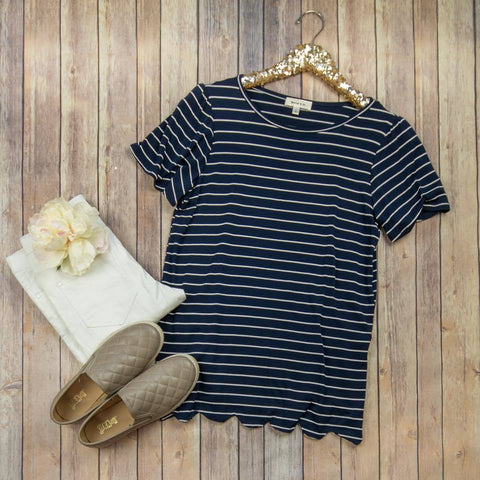 Scallop Edged Navy Top