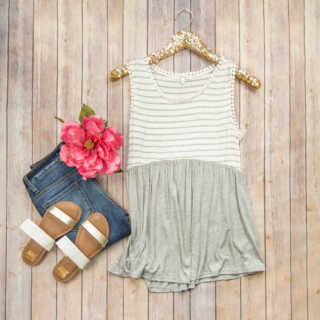 Gray Peplum Love Tee