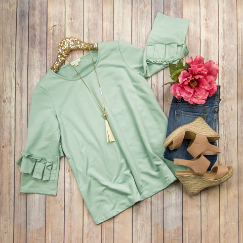 Sage Ruffled Blouse