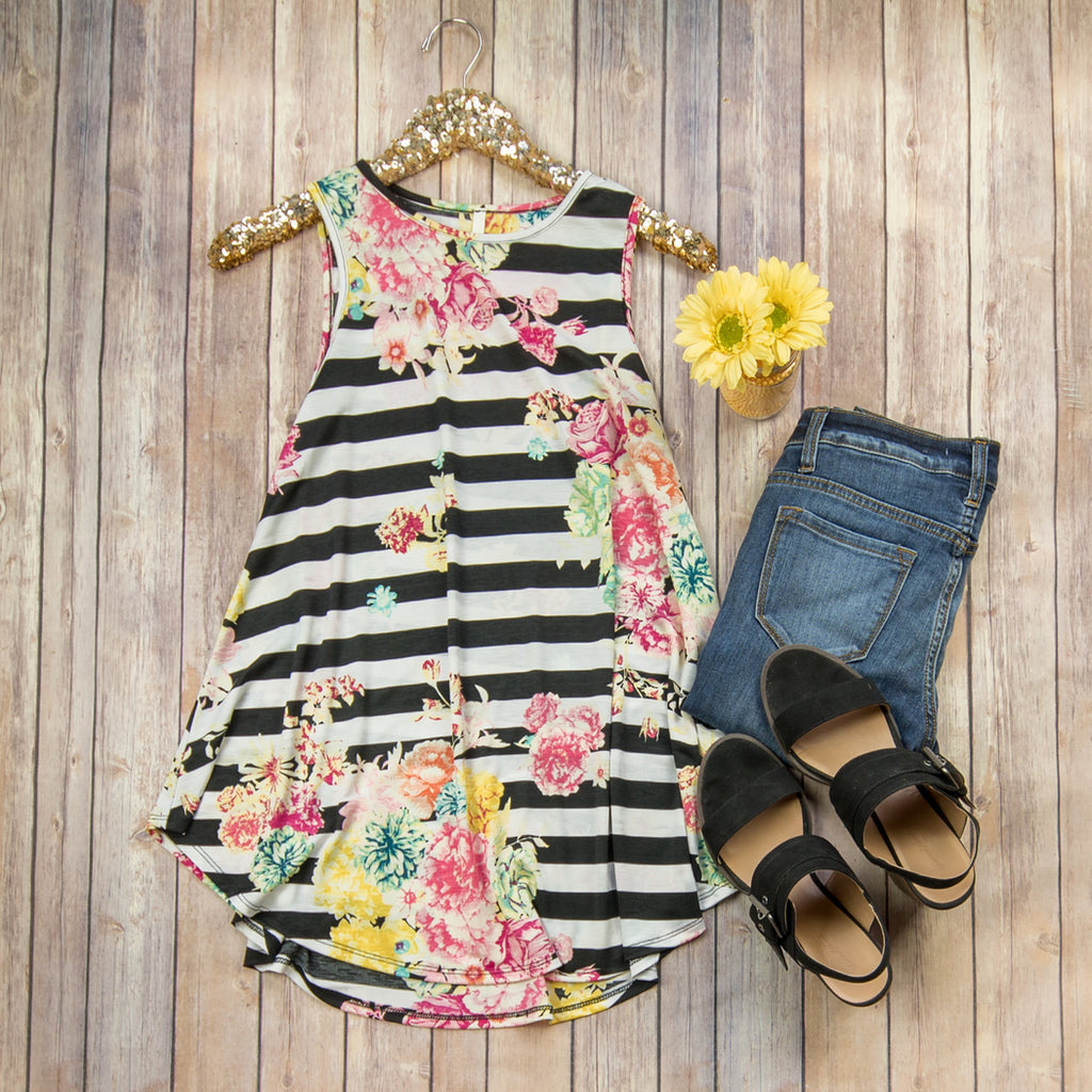 Bright Floral + Stripe Tank
