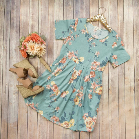 Mint Floral Peplum Dress****
