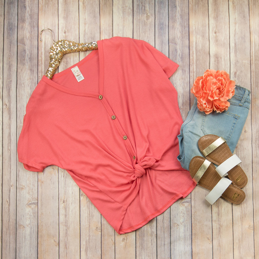 Coral Tie Button Blouse
